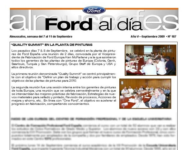 Noticia del European Quality Summit en la revista Ford al día